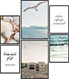 Papierschmiede® Mood-Poster Set Strand und Meer | 6 Bilder