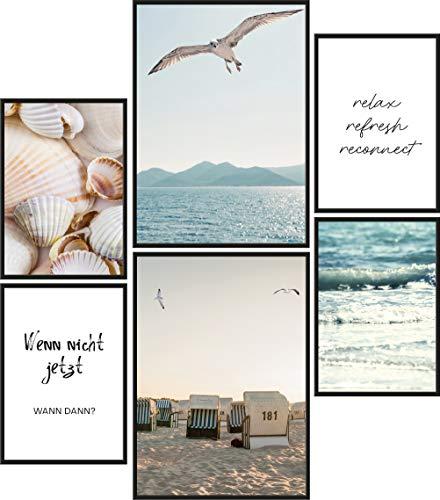 Papierschmiede® Mood-Poster Set Strand und Meer | 6 Bilder als stilvolle Wanddeko | 2X DIN A4 und 4X DIN A5 | Wasser Möwen Muscheln - ohne Rahmen