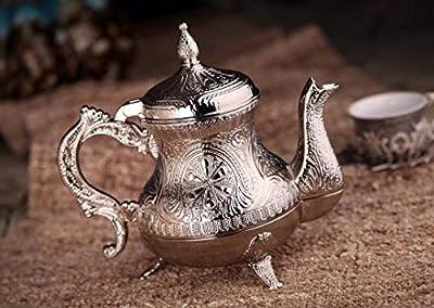 DEMMEX Turkish Moroccan Arabic Teapot Tea Beverage Serving Pot Pitcher, 25 Ounces (Silver)