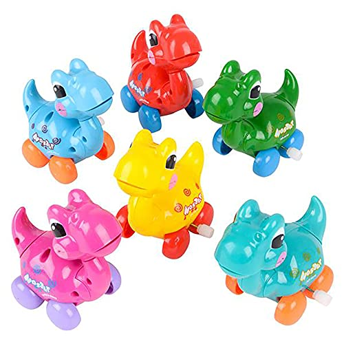 The Dreidel Company Dinosaur Wind-Up Toys, Birthday Party Favors, Novelty and Gag Gifts, 3.25' Inches (6-Pack)