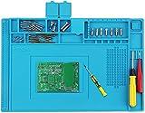 Preciva Alfombrilla para Soldadura, Almohadilla de Trabajo Silicone Aislamiento con Mantenimiento Magnético 45x30cm Silicone Pad Ideal al Alta Temperatura -50~500 C°para Reparación Móviles