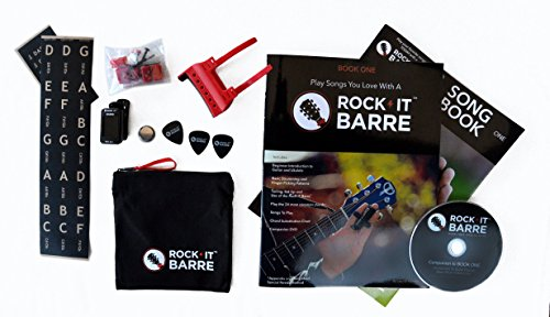 Rock-iT Barre Guitar Chord Device Beginner Package, Instructional Manual & DVD, Songbook, Clip-on Chromatic Tuner, W/Brown Stickers - Use On DARK OR ALL INSTRUMENT NECKS (Red Device)
