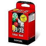Lexmark Combo-Pack No.32/33 Black and Color Print Cartridges cartucho de tinta Original Negro Multipack 2 pieza(s) - Cartucho de tinta para impresoras (Original, Tinta a base de pigmentos, Negro, 2 pieza(s), Impresión por inyección de tinta, 0,106 g)