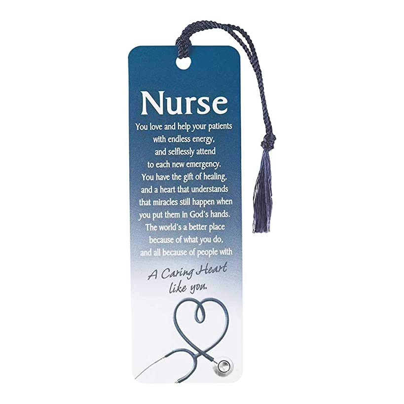 Nurse Caring Heart Script Deep Blue Cardstock Tassel Bookmark Tags, Pack of 12