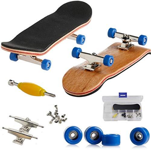 AumoToo Mini-Griffbrett, Professionelle Finger Skateboard Ahorn Holz DIY Montage Skateboarding Spielzeug Sport Spiele Kinder (Dunkelblau)