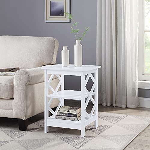 RAAMZO White Finish Wooden Diamond Design Chair Side End Table Nightstand Phone Stand with 3-Tier Shelf