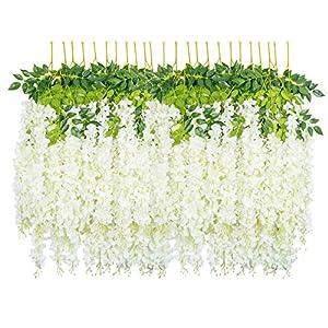 HEBE 24 Pack 3.75 Feet/Piece Artificial Wisteria Vine Ratta Fake Wisteria Flower Garland Silk Long Hanging Bush Flowers Silk Flowers String Wedding Home Decor(White)