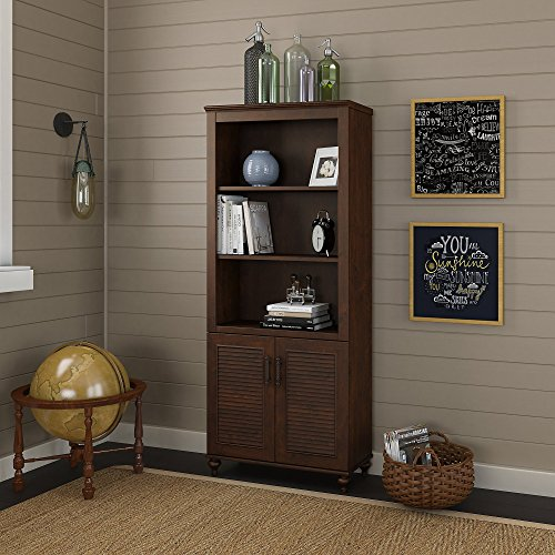 kathy ireland Home by Bush Furniture Volcano Dusk Bookcase with Doors in Coastal Cherry