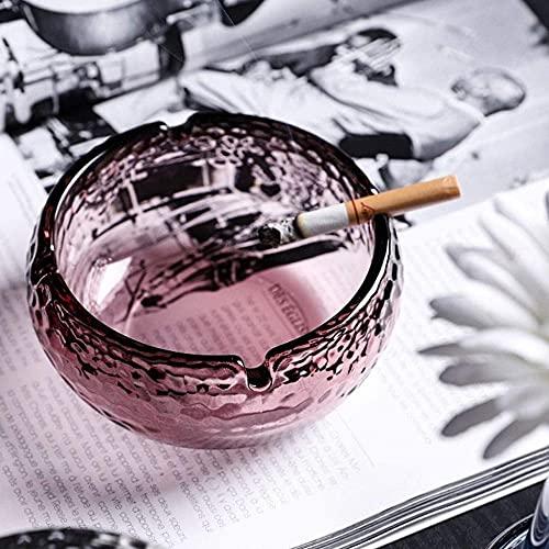 Cenicero de cristal para cenicero redondo para cenizas de escritorio, cenicero, cenicero para oficina, sala de estar, hotel, cenicero (color: C)-B