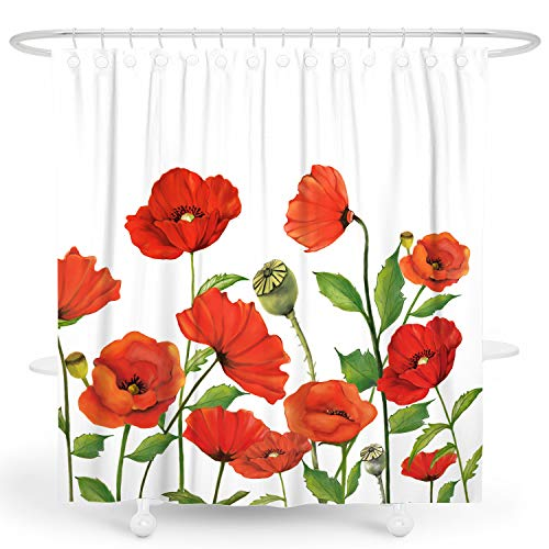 DESIHOM Floral Shower Curtain Poppy Shower Curtain Red Flower Shower Curtain Spring Shower Curtain Summer Plant Shower Curtain Botanical White Polyester Waterproof Shower Curtain 72x72 Inch