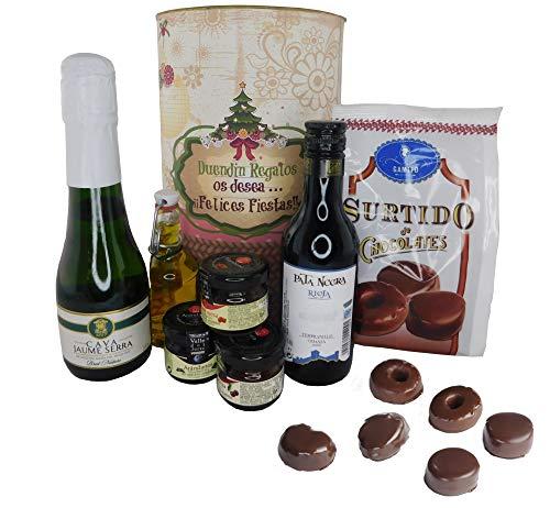 Lata Navidad con opción PERSONALIZADA con cava, mermelada, vino tinto reserva Pata Negra en lata gigante