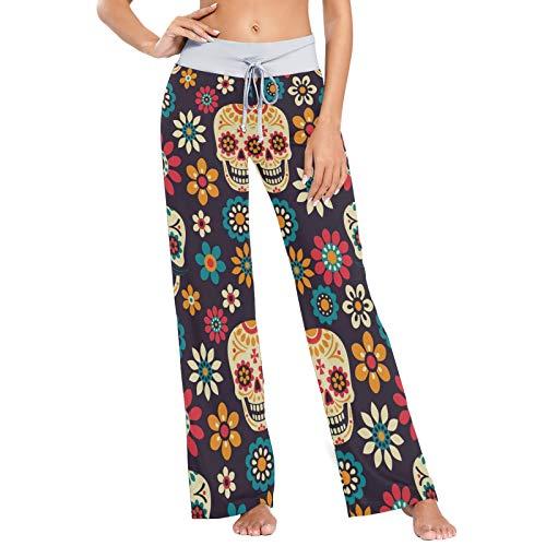 Pantalones de Pijama para Mujer Pantalones de Dormir Pantalones Largos atléticos de Pierna Ancha Calaveras de azúcar Florales mexicanas