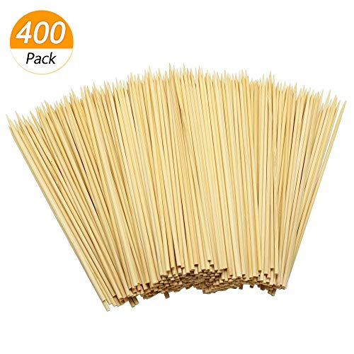 Hysagtek 400Pcs Wooden Bamboo Skewers Sticks for BBQ Fruit Chocolate Fountain Fondue Kabob Crafting and Party 15cm