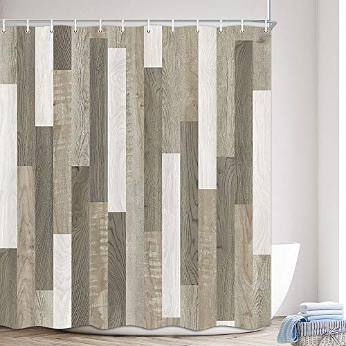 MERCHR Barn Door Shower Curtain, Farmhouse Brown Wooden Country Rustic Wood Fabric White Grey Brown Striped Polyester Fabric Waterproof Bath Curtain, Bathroom Shower Curtains with Hooks, 69X70in