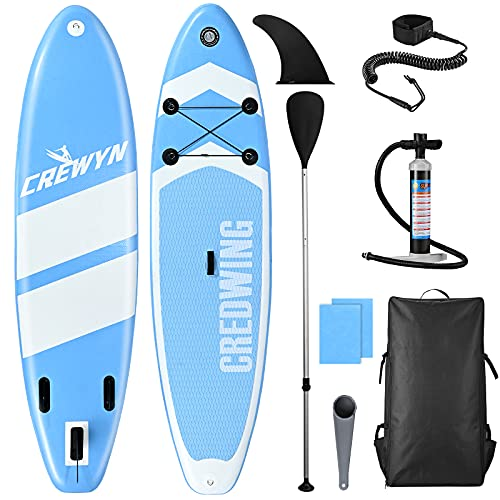CREWYN Inflatable Stand Up Paddle Board - 10'30''6'' SUP Paddle with Carry Bag & Premium SUP...