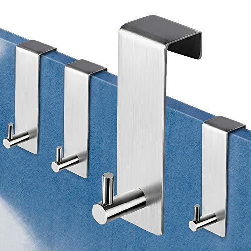 ZUNTO Türhaken Edelstahl 4 Stück - Haken Ohne Bohren Kleiderhaken über Tür Türgarderobe für die Rückseite