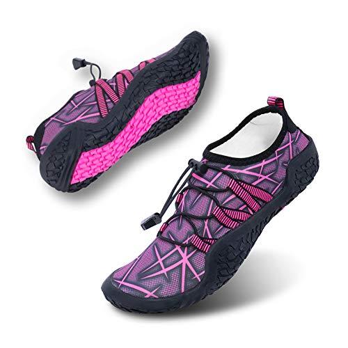 Hitmars Barfußschuhe Herren Sport Schnell Trocknend Traillaufschuhe Damen Atmungsaktiv Unisex Zehenschuhe Strandschuhe Wassersport Rosa F Größe 37