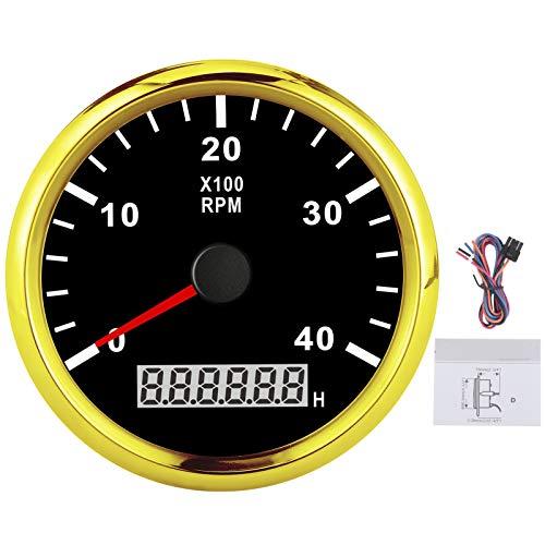 Tacómetro Medidor de 4000 RPM con medidor de horas IP67 a prueba de agua Luz de fondo roja 12V / 24V 85mm Pantalla LCD para coche camión barco(Marco de oro negro)