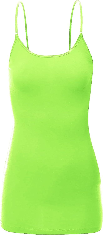 ClothingAve. Women's Adjustable Spaghetti Strap Basic Long Cami Tunic Tank Top