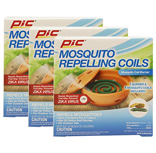 PIC Mosquito Coil Holder Terra Cotta Burner with 4 Mosquito Coils [Set of 3]