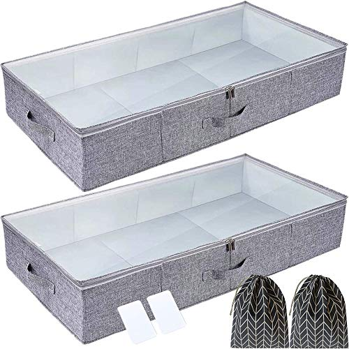 Gorgero Under bed Storage Containers, Set of 2 Large Breathable Woven Underbed Storage Containers with Plastic Board, Stackable under bed Clothes Organizer Storage Box for Comforters, Blanket,Bedding