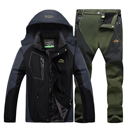 Qitun Hombre de Trekking Impermeable Deportivos Transpirable Pantalones Chaqueta de Esquí Impermeable Chaqueta de Nieve Excursionismo Conjunto Negro A M