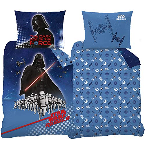 BERONAGE Star Wars Bedding Set Menace Black Blue 100% Cotton Lawn Renforcé Bedding Duvet Cover Children's Bedding Darth Vader Kylo Ren Stormtrooper Imperium Mandalorian with Zip