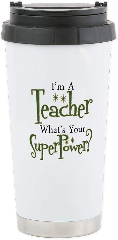 CafePress Super Teacher Stainless Steel Travel Mug Stainless Steel Travel Mug, Insulated 16 oz. Coffee Tumbler