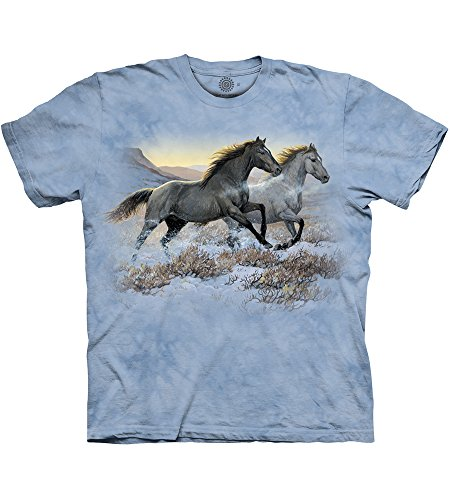 Tee shirt Chevaux - Running Free, Bleu, Small