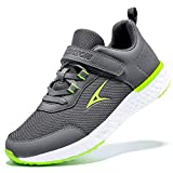 Boys Grils Sneakers Lightweight Athletic Gym Running Shoes Breathable Casual Non Slip Gym Sports Shoes No Tie Walking Tennis Shoes Popular Black Red Little Kid 12.5