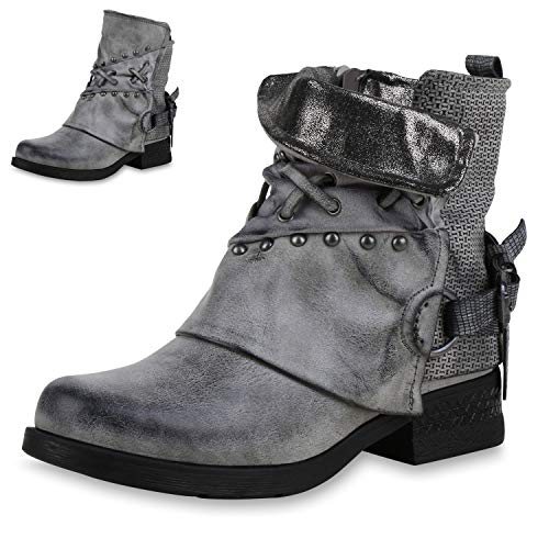 SCARPE VITA Damen Stiefeletten Biker Boots Nieten Leder-Optik Schuhe Prints Bikerstiefel Booties 169134 Grau Grey Leicht Gefüttert 38