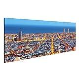 islandburner, Bild auf Leinwand Skyline von Barcelona,