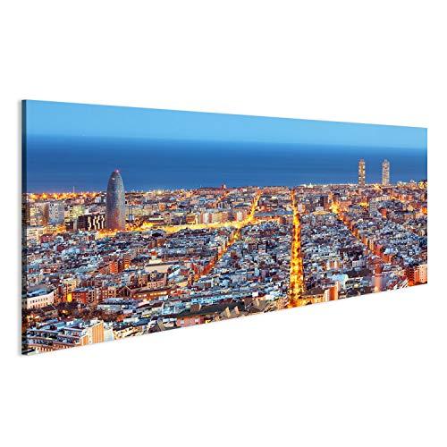 Imagen sobre lienzo Skyline de Barcelona, grabación de aire de noche, España, lienzo de pared