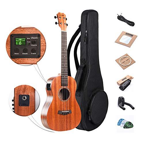 Baritone Electric Ukulele Caramel All Solid Mahogany 30 inch Professional Wooden ukelele Instrument Kit Small Hawaiian Guitar Beginner ukalalee Starter Pack Bundle Gig bag, Strap, String Set