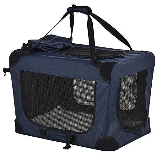 Pawhut Transportín Perro Gato Bolsa de Transporte Portátil y Transpirable para Mascotas Plegable con Cojín 3 Puertas y Ventana de Malla 2 Bolsillos 60x41,5x41 cm Azul Oscuro