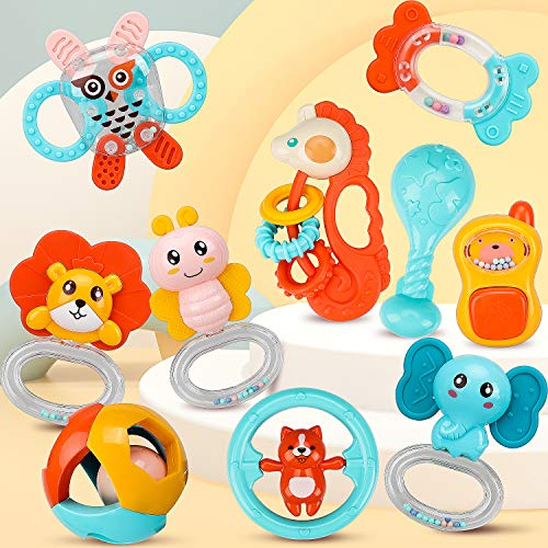 TOY Life 10PCS Baby Rattles Teething Toys  Baby Toys 06 Months  Baby Musical Toy Elephant Bear Owl  Grab Shaker and Spin Rattles Baby Toys 6 to 12 Months Infant Toys Newborn Toys Baby Gifts