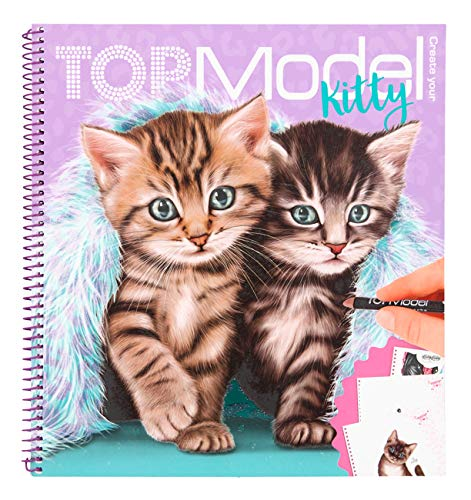 Depesche- Libro para Colorear Create Your Kitty, TopModel, Aprox. 22 x 20 x 1,5 cm. (11133)