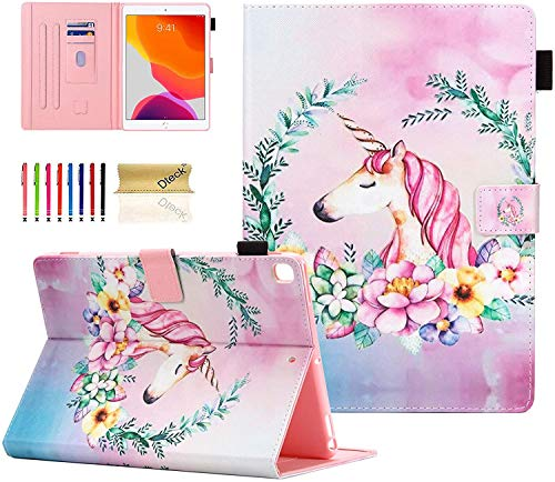 Dteck iPad 8th/ 7th Generation 2020/2019 10.2' Case, Slim PU Leather Folio Folding Stand Protective Shockproof Smart Cover with Pencil Holder Auto Wake Sleep Case for iPad 10.2 Inch, Unicorn Flower