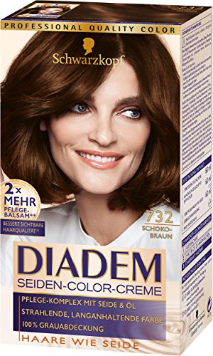 Schwarzkopf Diadem Seiden-Color-Creme, 732 Schokobraun Stufe 3, 3er Pack (3 x 180 ml)