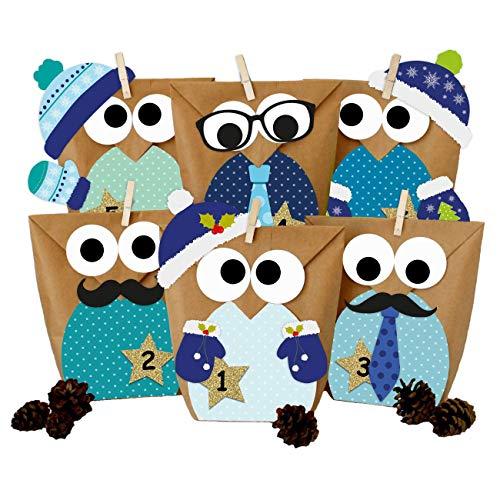 Calendario de Adviento DIY - con búhos navideños - Navidad 2018 - Set Azul con decoración Adicional - para personalizarlo
