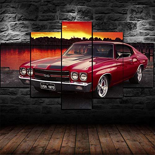 37Tdfc Cuadro Modernos en Lienzo 5 Piezas Pintura Pared Tejido Impresión Artística Abstracto Mural Coche clásico Chevrolet SS XL Enmarcado para Salón O Dormitorio Imagen Decoración