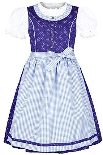 Isar-Trachten Mädchen Kinderdirndl mit Bluse blau hellblau, BLAU (Marine), 116
