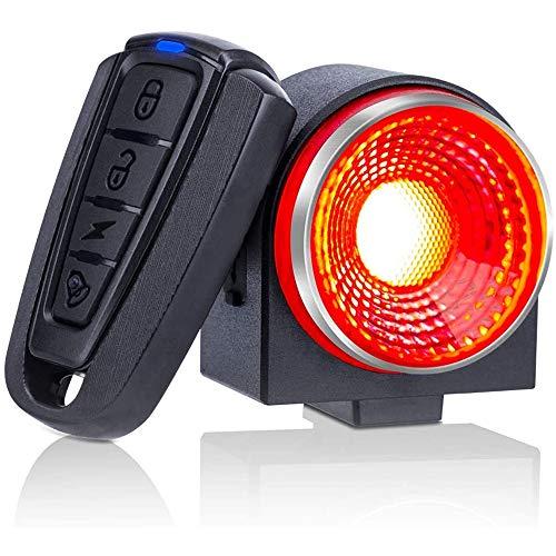 Luz trasera de bicicleta inteligente, alarma antirrobo para motocicleta ultra brillante de 115db con control remoto, alarma de bicicleta a prueba de agua, sensor de vibración, buscador de bicicleta