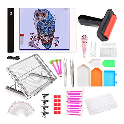 HOTOOLME 5D Diamond Painting Kit praktisch DIY Diamant Malerei Zubehör-Pack mit 28 Slots Diamant Stickerei Sortierbox Pinzette Pens Toolbox