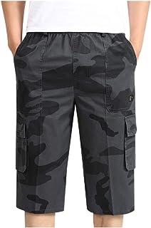 KASAAS Casual Shorts for Men Plus Size Solid Elastic Drawstring Beach Pants Pockets Summer Fashion Slim Short Slack