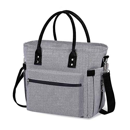 LARCISO Insulated Lunch Bag Durable Lunch Tote Bag with Adjustable and Detachable Shoulder Strap Leakproof Lunchbox for Women Men Adults Thermal Lunch Container for Office Picnic Hiking(Grey)