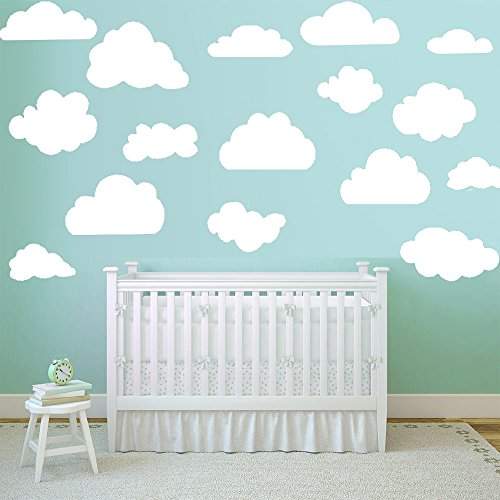Vinilos decorativo infantil de nubes 16 ud. Vinilo adhesivo con nubes decoración. Pegatinas infantiles decoración habitaciones. Docliick DC-18001 (Blanco)