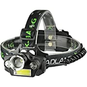 LED Headlamp Flashlight, USB Rechargeable LED Headlamp- Waterproof & Comfortable Headlight, Battery Powered Helmet Light, 8000 Lumen 4 Light 5 Modes Super Bright Outdoor Camping Biking (Black)