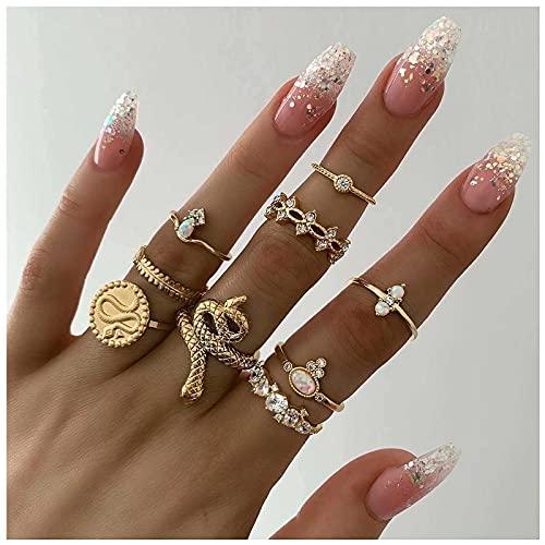 Yheakne Juego de anillos Boho con nudillos de serpiente de oro Anillos articulares punk midi anillos vintage apilables con brillantes anillos de moda accesorios para mujeres (modelo 3)