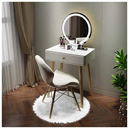 KYSZD-Uhren Schminktisch-Set, mit LED-Lichtern Spiegel und Hocker, für Kosmetik und Make-up, Wohnzimmer Mädchen Geschenk